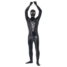 Wholesale Adult Costume Men Sexy - Wholesale-Convict Prisoner Men Catsuit Black Sexy Costume For Men Halloween Adult Cosplay