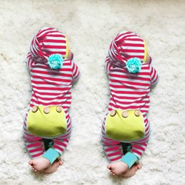 Wholesale Down Jumpsuit - Cute Girls Rompers Baby Girl Infant Romper Jumpsuits Long Sleeve Striped Onesie one-piece Autumn Girl's Romper Climb Clothes A7476