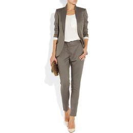 Wholesale Tuxedo Pants Suits For Women - Gray 2 piece set women formal pant suits for weddings female office uniform womens tuxedo business work suit ladies trouser suit