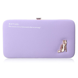 Wholesale Patterns Cell Phone Pouch - Fashion Women Wallets Leather Long Coin Purses Lady Day Clutches High-heeled Shoes Pattern Girls Hasp Pouch Credit Card Holders