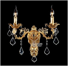 Wholesale Crystal Chandelier Wall Sconces - Wholesale Golden Crystal Wall Light Fixture Silver Wall Sconces Lamp Crystal Wall Brackets Chandelier Free Shipping