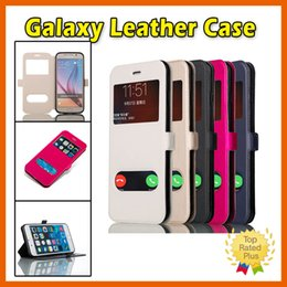 Wholesale Transparent Flip Cover Phone - Samsung Galaxy Leather Flip Window Phone Case Cover for Galaxy Note7 S6 S7 Edge Plus Note 4 Note 5