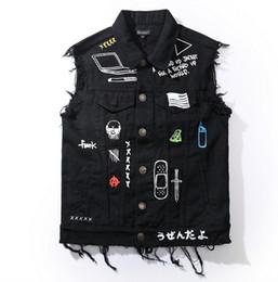 Di alta qualità di nuovo modo moto uomo gilet gilet punk hip hop jeans mens gilet di jeans giacca designer cappotto gotico senza maniche da
