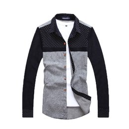 Wholesale Polka Dot Shirts For Men - Wholesale-Summer fashion 2016 polka dot patchwork long sleeve cotton shirts for men Casual dress men shirts Camisa social maculina men45