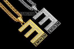 Wholesale Europe Style Fashion Pendant Necklace - Europe Fashion 18k gold plated silver Hip Hop men's Punk style Round E letter Pendant Necklace men Rock Rap EMINEM Necklace