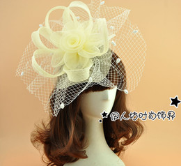 Wholesale Veils Color Blue - Beige Cute Wedding Hats Fascinators With Dot Mesh White Wedding Hat with Veil Bridal Hat Lady's Hat for the Party New 2016