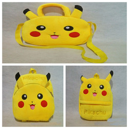 Wholesale School Bags For Kids Wholesale - 3 Styles Kids Pikachu Backpack Poke Go Plush School Bag Cartoon Infantil Backpack Baby Mochila For Xmas Birthday Gift