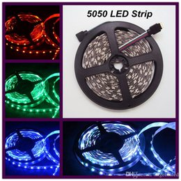 Wholesale White Neon Light Strips - 5m roll 5050 SMD Ledstrip Outdoor Led Christmas Lights Led Neon Signs Flex Rope Light 12V Waterproof RGB White Red Green Led Strips