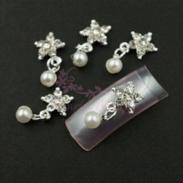 Wholesale Decorations Bling Flower Diy - 50pcs lot 13x9MM Bling Clear Rhinestones Flower Dangle Faux Pearl Beads 3D Nail Art Alloy Charms Jewelry DIY Design Decorations