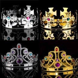 Wholesale King Crowns Tiaras - Princess Queen Crown King And Queens Crown Hats Cosplay Holloween Party Birthday Princess Hats Crown 4 style