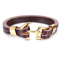 Wholesale Cool Womens Rings - Charming Fashion Cool Gold Anchor design 316L Stainless Steel Mens Womens' Gift multilayer Brown Leather bracelet Bangle 8.66''