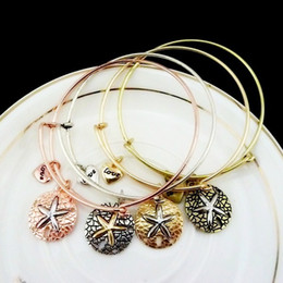 Wholesale South Sea Pearls Singapore - Fashion Bangles Women Charms Starfish Sea Star Love Alloy Pendant Bracelets Vintage Expandable Wire Cuff Bracelet