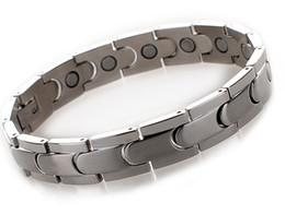 Männer element armband online-Heilende magnetische Armband-Männer / Frau 316L Edelstahl 4 Gesundheitspflege-Element-Goldsilberne schwarze Handkette mit freiem Verschiffen