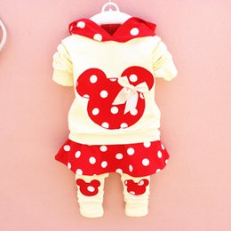 Wholesale Red Dot Skirt Girls - 2015 cute baby girls outfits babies clothes dots bow spring newborn baby 2pcs set children cotton suit hooded+legging skirts child outwear