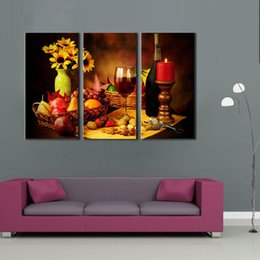 Wholesale Red Candlesticks - 3 Picture Combination Food Series Pictures Fruit and Red Wine Beside candlestick Wall Art Print on Canvas For Living Room
