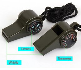 Wholesale Compass Whistles - multifunction outdoor survival whistle 3 in 1 Survival Whistle With Compass Thermometer Wholesale Portable whistle Free Shipping