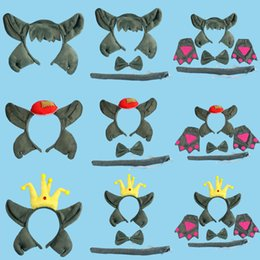 Wholesale Yellow Headbands For Children - Cartoon Animal Wolf Baby Children Party Headbands Ears Headband Hair Accessories Kids Hairbands for Girls Bow
