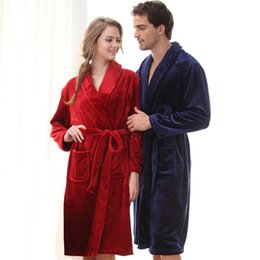 Wholesale Womens Silk Bathrobe - Wholesale- On Sale Womens Long Warm Flannel Bath Robe Sexy Silk Flannel Kimono Bathrobe Women Dressing Gown Bride Bridesmaid Robes Wedding