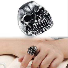 Wholesale Christmas Ornaments Personalize - Personalized Punk Rock Skeleton Ring Man Ornaments Top Workmanship Stainless Steel Ring Vintage Jewelry Charms 432