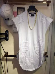 Wholesale Tall White T Shirts - Free shipping men's longline tall t-shirt with zip detail t shirt for long tee shirts men