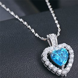 Wholesale Sterling Silver Ocean - real 925 sterling silver woman jewelry pendants dangles diy necklaces chains white gold heart of ocean single love wholesales fashion 1pc