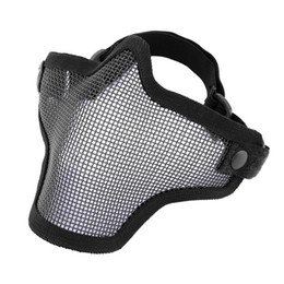 Wholesale Airsoft Half Mask Mesh - Half Lower Face Metal Steel Net Mesh Hunting Tactical Protective Airsoft Mask Gofuly free shipping