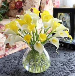 Wholesale Mini Calla Lilies - 10 bouquet= 1 set PU mini Artificial Calla Lily Flower real touch flower 10 color Wedding Bridal Bouquet Home Party Decor calla