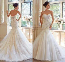 Wholesale Elegent White Dresses - 2016 Elegent Mermaid Wedding Dresses Sweetheart Appliques Lace Beads Glitz Tulle Lace Up Back Court Train Formal Bridal Gowns