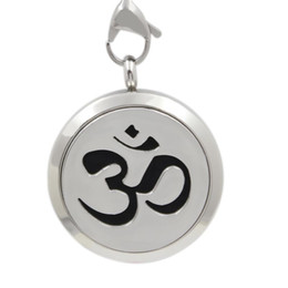 Wholesale Hollow Silicone Necklace - (20-35mm)Round Silver Magnetic Hollow Yoga Symbol Essential Oil Diffuser Locket Perfume Difuser Aromatherapy Lockets In Pendants(FREE PADS)