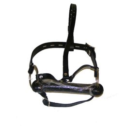 Wholesale Head Harness Ring - Bondage Head Harness Bit Gag with Leather Strap and Big Metal Ring Pony Play Face Restraint