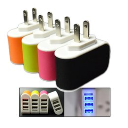 Wholesale Uk Power Plug Sale - Hot Sale US EU Plug 3 USB Wall Chargers 5V 3.1A LED Adapter Travel Power Adaptor With triple USB Ports