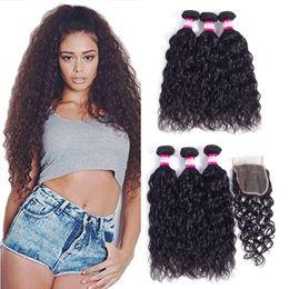 Wholesale Hair Top Closure 4x4 - Peruvian Hair Bundles Body Deep Curly Water Wave 3Pcs Human Hair With Lace Closure Peruvian Wet and Wavy 4Pcs Lot 4x4 Top Closure