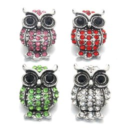 Wholesale Birthstone Colors - 10PCS   Lot Mix Colors Owl Rhinestones Birthstone 18mm Snap Button for Women Snaps button Bracelet Jewelry