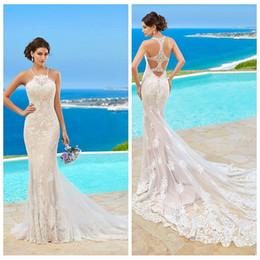 Wholesale Simple Slimming Wedding Dresses - 2017 Spaghetti Strip Mermaid Wedding Dresses Beach Lace Appliques Slim Formal Bridal Dress Beautiful Cheap Sale Summer Wedding