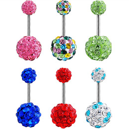 Wholesale Disco Boys - 5pcs lots Belly button ring fashion Shambhala Disco ball woman body piercing navel ring body jewelry Wholesale 14G Surgical Steel Clear AB