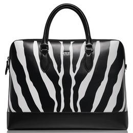 Vente en gros - BVP - Texture de zèbre haut de gamme pour hommes en cuir véritable portefeuille d'affaires portefeuille attaché Messenger Bag brown 15