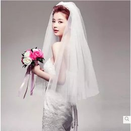 Wholesale Two Tier Lace Cathedral Veil - Veils For Bridal Wedding veils Length Bridal Veils 2 layer cathedral veil With Pearl long lace Comb 2 tier veil Ivory