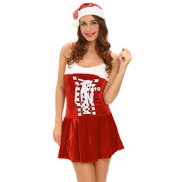 Wholesale Hot Santa Costume - Sexy Sleeveless Backless Santa Mini Dress with Hat Sexy Holiday Buckles Lingerie Costume Disfraz Santa Claus Christmas for Women Hot Sexy