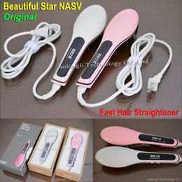 Wholesale Ion Comb - 100% Original offical Hair Straightener Beautiful Star NASV-100 Styling Auto Straight Comb Ion Brush LCD Digital Display Hair Massager Comb