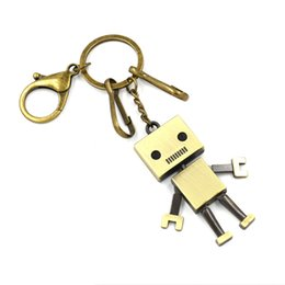 Wholesale robot keychain metal - Creative jewelry Retro Robot Cartoon Keychain key rings Key accessories customized gifts Wedding Favor Couples jewelry