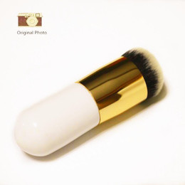 Wholesale Round Wooden Handle Brush - Pink White Big Round Head Foundation Powder Brushes Makeup Brush Cosmetic Tools Nylon Wooden Handle Foundation Brush