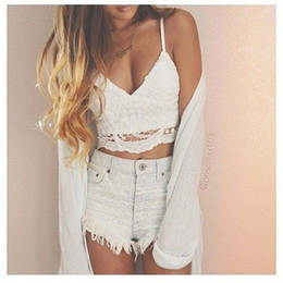 Wholesale spaghetti tank top - 2017 brandy melville tops Bandage spaghetti strap ladies camisole black white lace bralette sexy tank top women summer crop top 5pcs lot