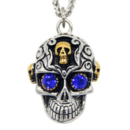 Wholesale Gothic Titanium - Stainless Steel Gothic Purple Eyes Skull Diamond Pendant Vintage Titanium Steel Pendants Men Fashion Personalized Pendant