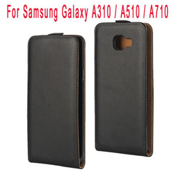 Wholesale Wholesale Plain Cell Phone Cases - NEW Flip Genuine Leather Case Real Pouch Plain Bag pocket For Samsung Galaxy A310 A510 A710 2016 A3 A5 A7 Skin Cover Black Cell phone Luxury