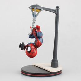 Wholesale Spiderman Models Kids - Spiderman Action Figures Cartoon Comics Heroes Street Lamp Hang Upside Down Camera Collectable Model kids Toys 14cm