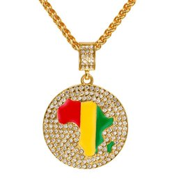 Wholesale Initial Diamond Pendants - Full Diamond Circle Pendant Necklace With Africa Map Design Gold Color Necklace Paved Rhinestone Crystal Hip Hop Jewelry