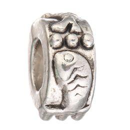 Wholesale Fish Holes - Women Fashion DIY Beads Silver Round Charm Big Hole Loose Bead Fish and Bear Beads for Original European Bracelet Jewelry #5