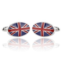 Wholesale Britain Flags - Classic Cuff Links For Men Oval United Kindom England Britain National Flag Gift Cufflinks Patriot Jewelry zj-0903914