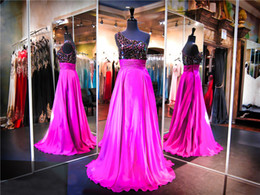Wholesale Violet Pink Prom Dresses - Violet Chiffon One Shoulder Prom Dress Colorful Rhinestones Beading Top A-line Elegant Evening Dress Pageant Dresses