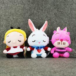 Wholesale Plush Doll Cat - Wholesale-3Styles Anime Kawaii Alice in Wonderland Soft Stuffed Plush Toys Alice Cheshire Cat White Rabbit Dolls Gifts For Kids 18-24cm